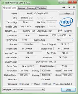 GPU-Z отображение технических характеристик графического процессора и его видеопамяти.