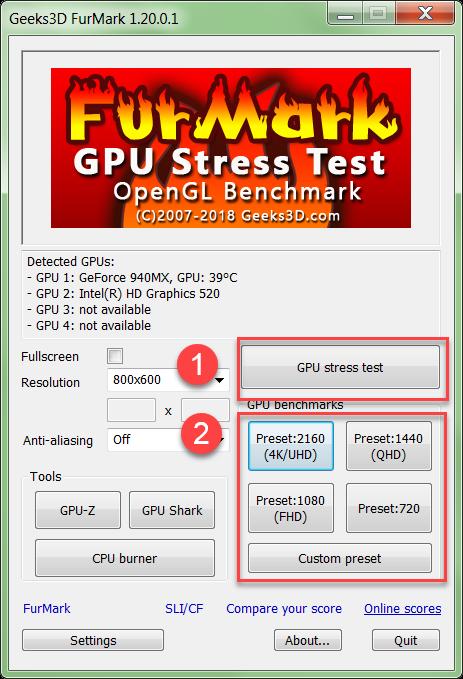 Профили программы Furmark